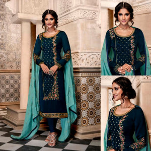 NIGHT BLUE SATIN GEORGETTE UNSTITCHED LONG SALWAR KAMEEZ SUIT DRESS MATERIAL w HEAVY EMBR LADIES DEN
