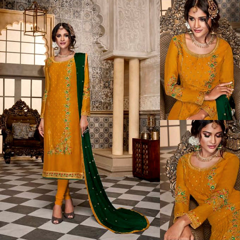 GOLDEN ROD SATIN GEORGETTE UNSTITCHED LONG SALWAR KAMEEZ SUIT DRESS MATERIAL w HEAVY EMBR LADIES DEN