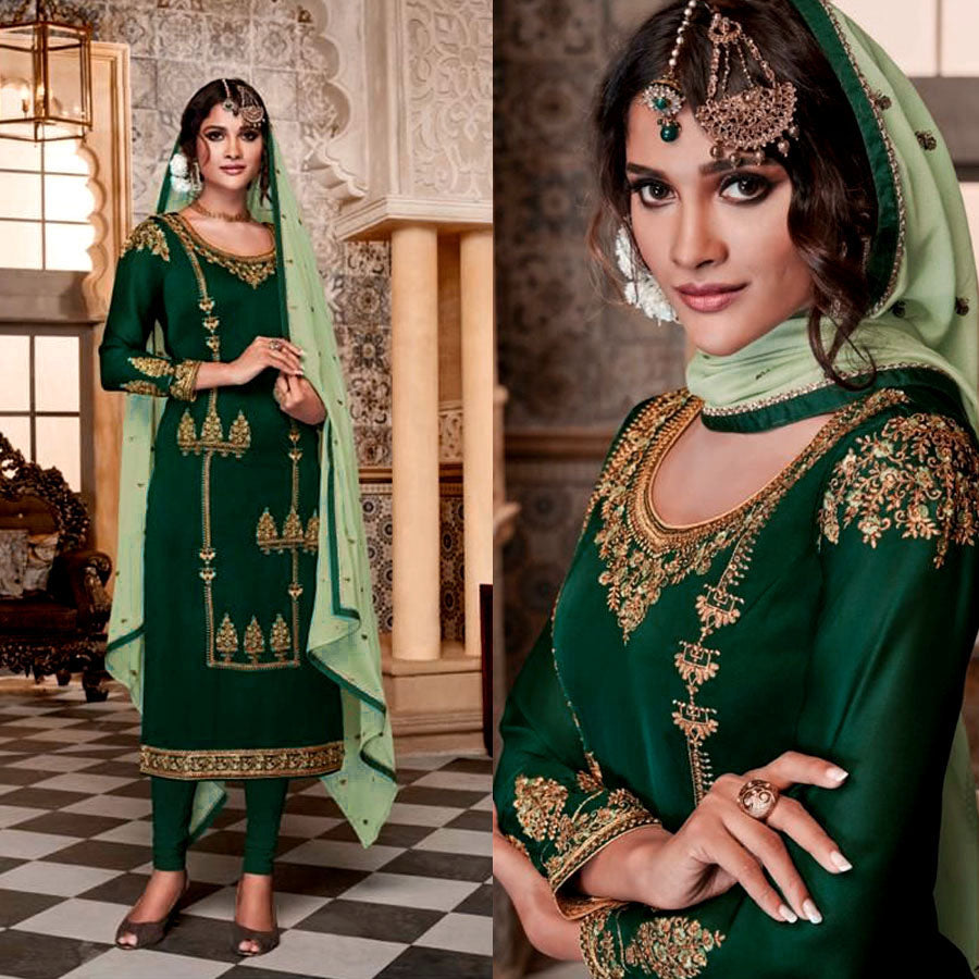 DARK GREEN SATIN GEORGETTE UNSTITCHED LONG SALWAR KAMEEZ SUIT DRESS MATERIAL w HEAVY EMBR LADIES DEN