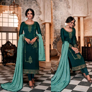 DARK TEAL SATIN GEORGETTE UNSTITCHED LONG SALWAR KAMEEZ SUIT DRESS MATERIAL w HEAVY EMBR LADIES DEN