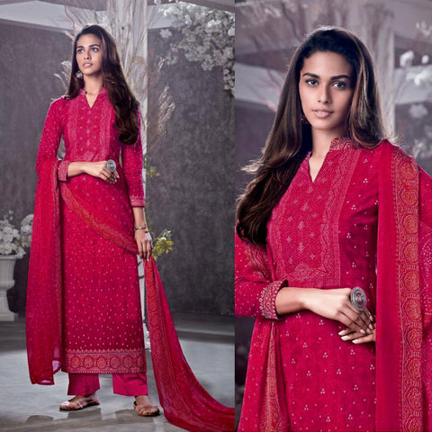 RUBY RED BANDHINI STYLE PRINTED COTTON UNSTITCHED SALWAR KAMEEZ SUIT DRESS MATERIAL LADIES DEN