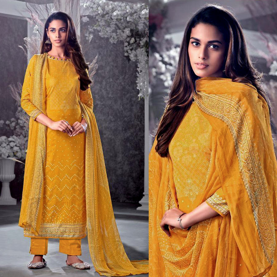 MUSTARD YELLOW BANDHINI STYLE PRINTED COTTON UNSTITCHED SALWAR KAMEEZ SUIT DRESS MATERIAL LADIES DEN