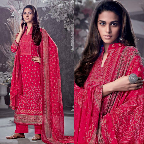 CHERRY RED BANDHINI STYLE PRINTED COTTON UNSTITCHED SALWAR KAMEEZ SUIT DRESS MATERIAL LADIES DEN