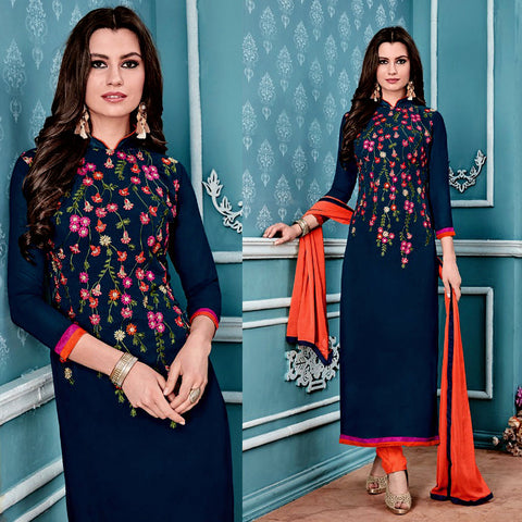 NIGHT BLUE GEORGETTE UNSTITCHED LONG SALWAR KAMEEZ SUIT DRESS MATERIAL w PARSI EMBR LADIES DEN