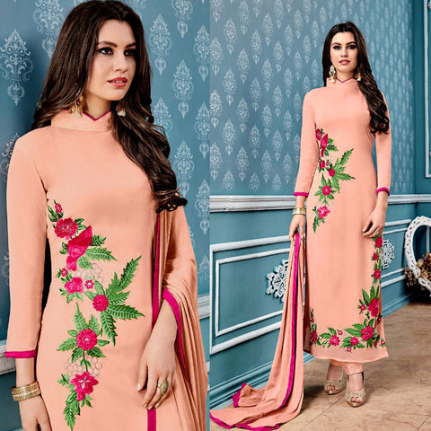 PALE PEACH GEORGETTE UNSTITCHED LONG SALWAR KAMEEZ SUIT DRESS MATERIAL w PARSI EMBR LADIES DEN