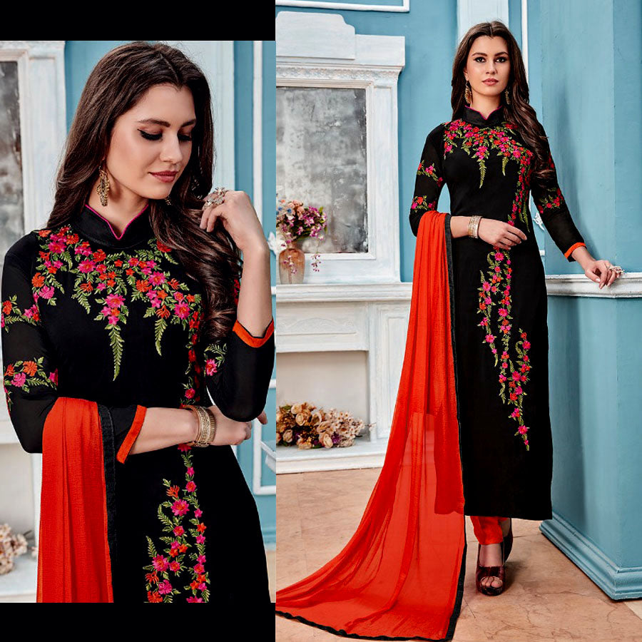 BLACK GEORGETTE UNSTITCHED LONG SALWAR KAMEEZ SUIT DRESS MATERIAL w PARSI EMBR LADIES DEN