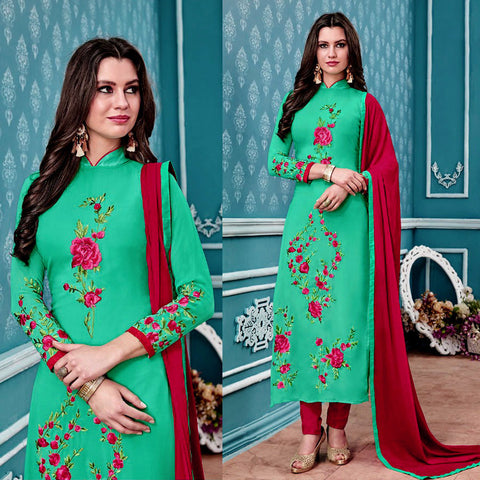 AQUAMARINE GEORGETTE UNSTITCHED LONG SALWAR KAMEEZ SUIT DRESS MATERIAL w PARSI EMBR LADIES DEN
