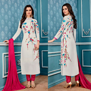 WHITE GEORGETTE UNSTITCHED LONG SALWAR KAMEEZ SUIT DRESS MATERIAL w PARSI EMBR LADIES DEN