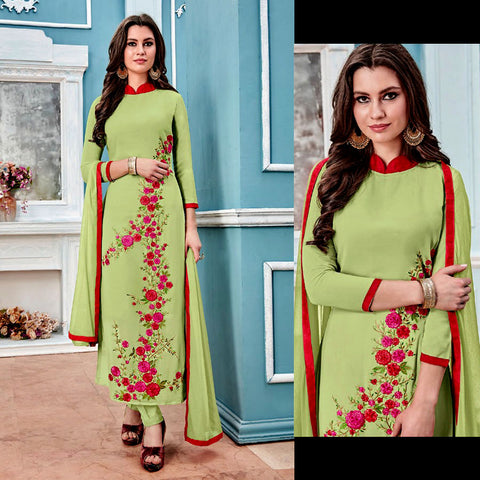 PALE YELLOW GREEN GEORGETTE UNSTITCHED LONG SALWAR KAMEEZ SUIT DRESS MATERIAL w PARSI EMBR LADIES DEN