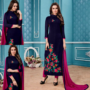 NIGHT BLUE GEORGETTE UNSTITCHED LONG SALWAR KAMEEZ SUIT DRESS MATERIAL with PARSI EMBR LADIES DEN