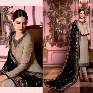 PALE ALMOND BROWN SATIN GEORGETTE UNSTITCHED SALWAR KAMEEZ SUIT DRESS MATERIAL HEAVY EMBR DUPATTA LADIES DEN