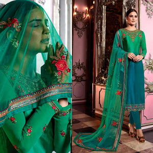 GREEN-PEACOCK BLUE SATIN GEORGETTE UNSTITCHED SALWAR KAMEEZ SUIT DRESS MATERIAL HEAVY EMBR DUPATTA LADIES DEN