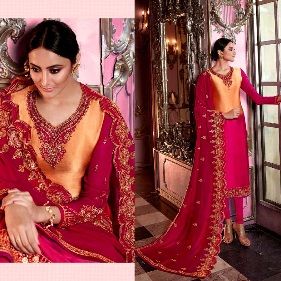 PALE SAFFRON-DEEP PINK SATIN GEORGETTE UNSTITCHED SALWAR KAMEEZ SUIT DRESS MATERIAL HEAVY EMBR DUPATTA LADIES DEN