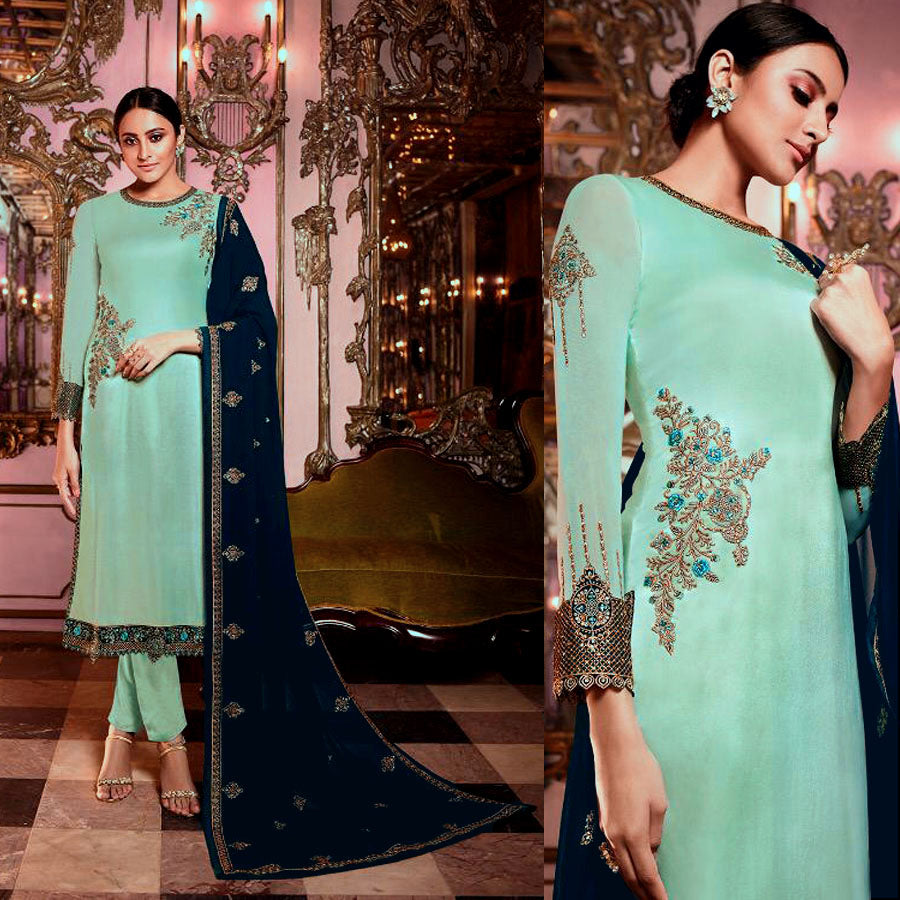 PALE CYAN SATIN GEORGETTE UNSTITCHED SALWAR KAMEEZ SUIT DRESS MATERIAL HEAVY EMBR DUPATTA LADIES DEN