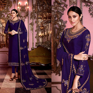 INDIGO BLUE SATIN GEORGETTE UNSTITCHED SALWAR KAMEEZ SUIT DRESS MATERIAL HEAVY EMBR DUPATTA LADIES DEN