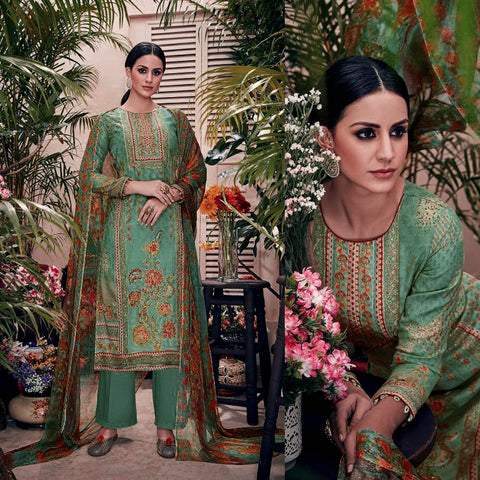 DULL MINT GREEN PAKISTANI STYLE PRINTED PASHMINA WOOL UNSTITCHED SALWAR KAMEEZ SUIT w DORI WORK DRESS MATERIAL LADIES DEN