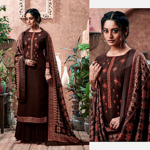 DARK COFFEE BROWN PRINTED PASHMINA WOOL UNSTITCHED SALWAR KAMEEZ SHAWL SUIT w KASHMIRI EMBR DRESS MATERIAL LADIES DEN