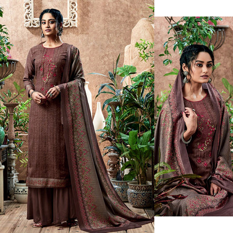 DARK ROSE BROWN PRINTED PASHMINA WOOL UNSTITCHED SALWAR KAMEEZ SHAWL SUIT w KASHMIRI EMBR DRESS MATERIAL LADIES DEN