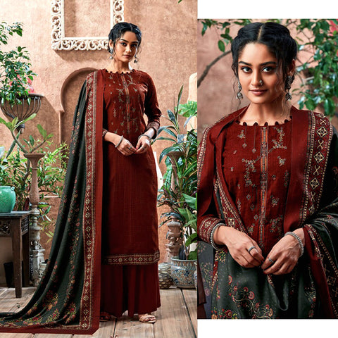 DARK SIENNA BROWN PRINTED PASHMINA WOOL UNSTITCHED SALWAR KAMEEZ SHAWL SUIT w KASHMIRI EMBR DRESS MATERIAL LADIES DEN