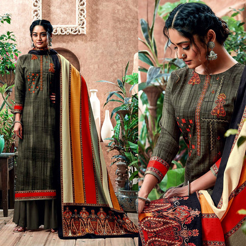 DULL OLIVE GREEN PRINTED PASHMINA WOOL UNSTITCHED SALWAR KAMEEZ SHAWL SUIT w KASHMIRI EMBR DRESS MATERIAL LADIES DEN