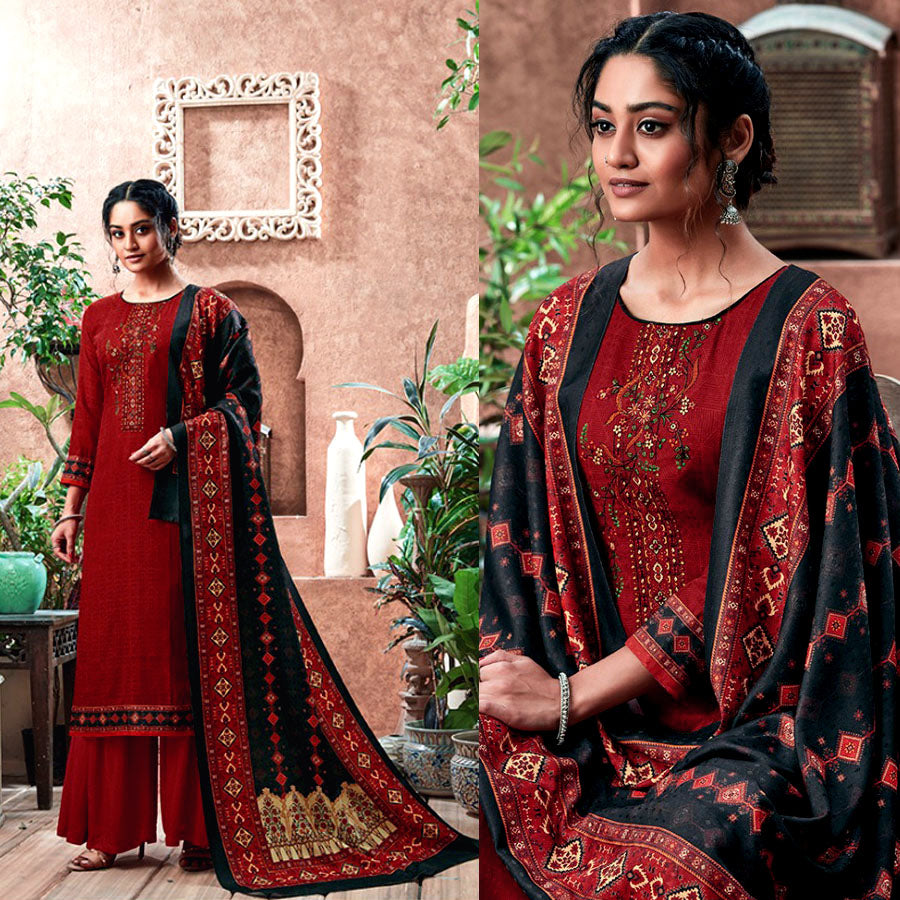 BRICK RED PRINTED PASHMINA WOOL UNSTITCHED SALWAR KAMEEZ SHAWL SUIT w KASHMIRI EMBR DRESS MATERIAL LADIES DEN