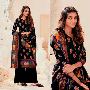 BLACK PRINTED PASHMINA WOOL UNSTITCHED SALWAR KAMEEZ SHAWL SUIT DRESS MATERIAL LADIES DEN