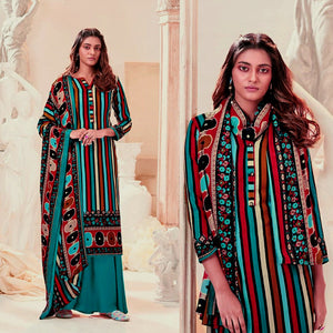 DARK TURQUOISE PRINTED PASHMINA WOOL UNSTITCHED SALWAR KAMEEZ SHAWL SUIT DRESS MATERIAL LADIES DEN