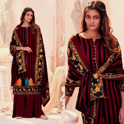 DARK MAROON PRINTED PASHMINA WOOL UNSTITCHED SALWAR KAMEEZ SHAWL SUIT DRESS MATERIAL LADIES DEN