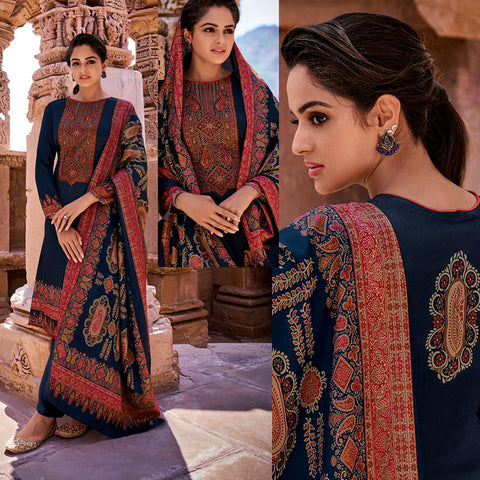 NIGHT BLUE KASHMIRI STYLE PRINTED PASHMINA WOOL UNSTITCHED SALWAR KAMEEZ SHAWL SUIT w EMBR DRESS MATERIAL LADIES DEN