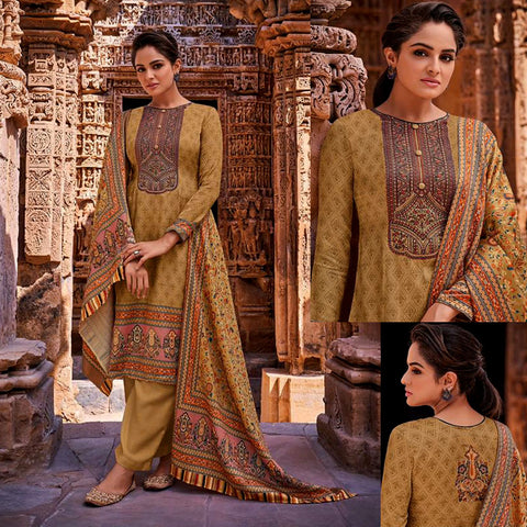 KHAKI BROWN KASHMIRI STYLE PRINTED PASHMINA WOOL UNSTITCHED SALWAR KAMEEZ SHAWL SUIT w EMBR DRESS MATERIAL LADIES DEN