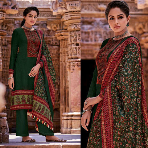 DARK GREEN KASHMIRI STYLE PRINTED PASHMINA WOOL UNSTITCHED SALWAR KAMEEZ SHAWL SUIT w EMBR DRESS MATERIAL LADIES DEN