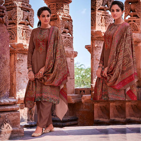 DARK ROSE BROWN KASHMIRI STYLE PRINTED PASHMINA WOOL UNSTITCHED SALWAR KAMEEZ SHAWL SUIT w EMBR DRESS MATERIAL LADIES DEN