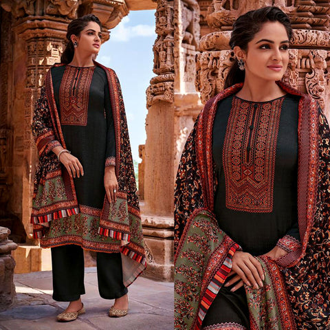 BLACK KASHMIRI STYLE PRINTED PASHMINA WOOL UNSTITCHED SALWAR KAMEEZ SHAWL SUIT w EMBR DRESS MATERIAL LADIES DEN