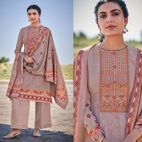 ROSE BROWN KASHMIRI STYLE PRINTED PASHMINA WOOL UNSTITCHED SALWAR KAMEEZ SHAWL SUIT w EMBR DRESS MATERIAL LADIES DEN