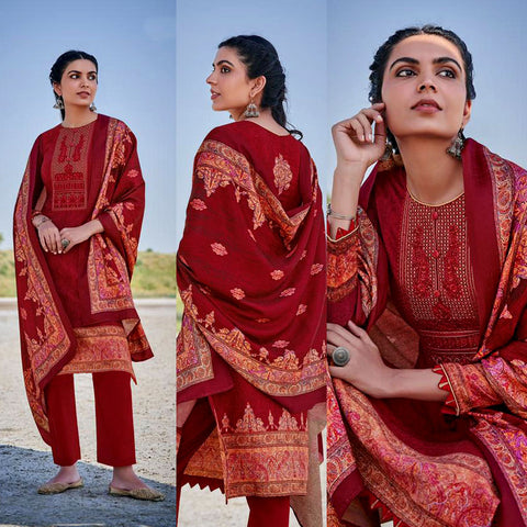 MAROON RED KASHMIRI STYLE PRINTED PASHMINA WOOL UNSTITCHED SALWAR KAMEEZ SHAWL SUIT w EMBR DRESS MATERIAL LADIES DEN