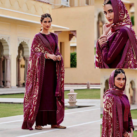 DARK BURGUNDY KASHMIRI STYLE EMBR & PRINTED PASHMINA WOOL UNSTITCHED SALWAR KAMEEZ SHAWL SUIT DRESS MATERIAL LADIES DEN