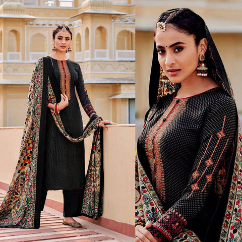BLACK KASHMIRI STYLE EMBR & PRINTED PASHMINA WOOL UNSTITCHED SALWAR KAMEEZ SHAWL SUIT DRESS MATERIAL LADIES DEN