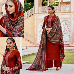 RUSTY BROWN KASHMIRI STYLE EMBR & PRINTED PASHMINA WOOL UNSTITCHED SALWAR KAMEEZ SHAWL SUIT DRESS MATERIAL LADIES DEN