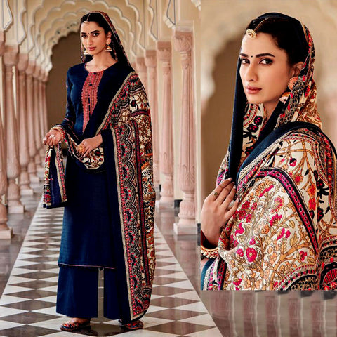 DARK NAVY BLUE KASHMIRI STYLE EMBR & PRINTED PASHMINA WOOL UNSTITCHED SALWAR KAMEEZ SHAWL SUIT DRESS MATERIAL LADIES DEN