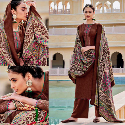 DARK SIENNA BROWN KASHMIRI STYLE EMBR & PRINTED PASHMINA WOOL UNSTITCHED SALWAR KAMEEZ SHAWL SUIT DRESS MATERIAL LADIES DEN