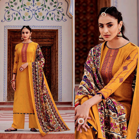 DARK TURMERIC YELLOW KASHMIRI STYLE EMBR & PRINTED PASHMINA WOOL UNSTITCHED SALWAR KAMEEZ SHAWL SUIT DRESS MATERIAL LADIES DEN
