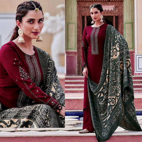 MAROON KASHMIRI STYLE EMBR & PRINTED PASHMINA WOOL UNSTITCHED SALWAR KAMEEZ SHAWL SUIT DRESS MATERIAL LADIES DEN