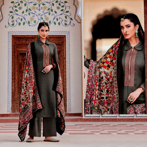 DARK ASH GRAY KASHMIRI STYLE EMBR & PRINTED PASHMINA WOOL UNSTITCHED SALWAR KAMEEZ SHAWL SUIT DRESS MATERIAL LADIES DEN