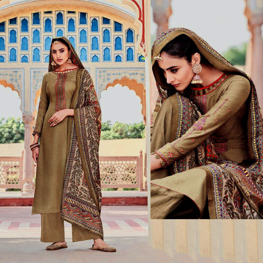 KHAKI BROWN KASHMIRI STYLE EMBR & PRINTED PASHMINA WOOL UNSTITCHED SALWAR KAMEEZ SHAWL SUIT DRESS MATERIAL LADIES DEN
