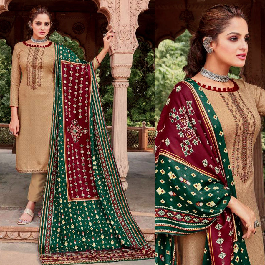 BEIGE PRINTED PASHMINA WOOL UNSTITCHED SALWAR KAMEEZ SUIT w EMBR & PATOLA STYLE SHAWL DRESS MATERIAL LADIES DEN