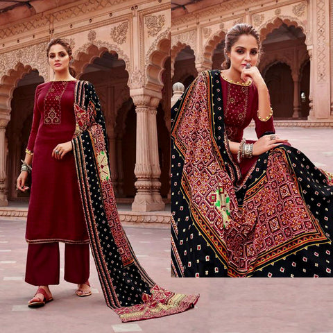 MAROON PRINTED PASHMINA WOOL UNSTITCHED SALWAR KAMEEZ SUIT w EMBR & PATOLA STYLE SHAWL DRESS MATERIAL LADIES DEN