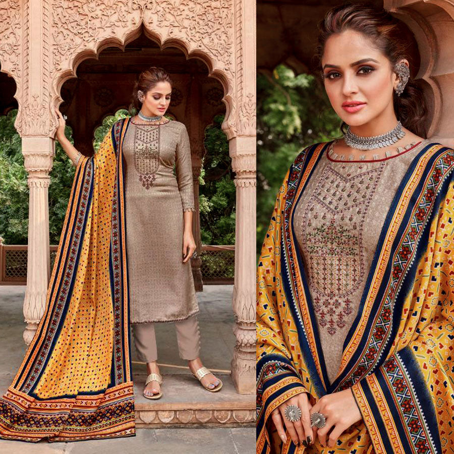 PALE ROSE BROWN PRINTED PASHMINA WOOL UNSTITCHED SALWAR KAMEEZ SUIT w EMBR & PATOLA STYLE SHAWL DRESS MATERIAL LADIES DEN