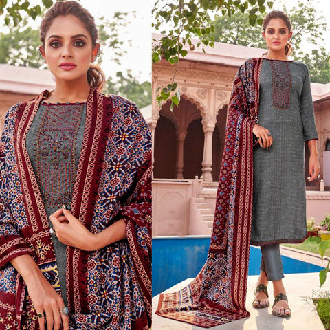 STEEL BLUE GRAY PRINTED PASHMINA WOOL UNSTITCHED SALWAR KAMEEZ SUIT w EMBR & PATOLA STYLE SHAWL DRESS MATERIAL LADIES DEN