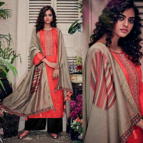 CARROT RED-BLACK PASHMINA WOOL UNSTITCHED SALWAR KAMEEZ SUIT w EMBR & LT BROWN PRINTED SHAWL DRESS MATERIAL LADIES DEN