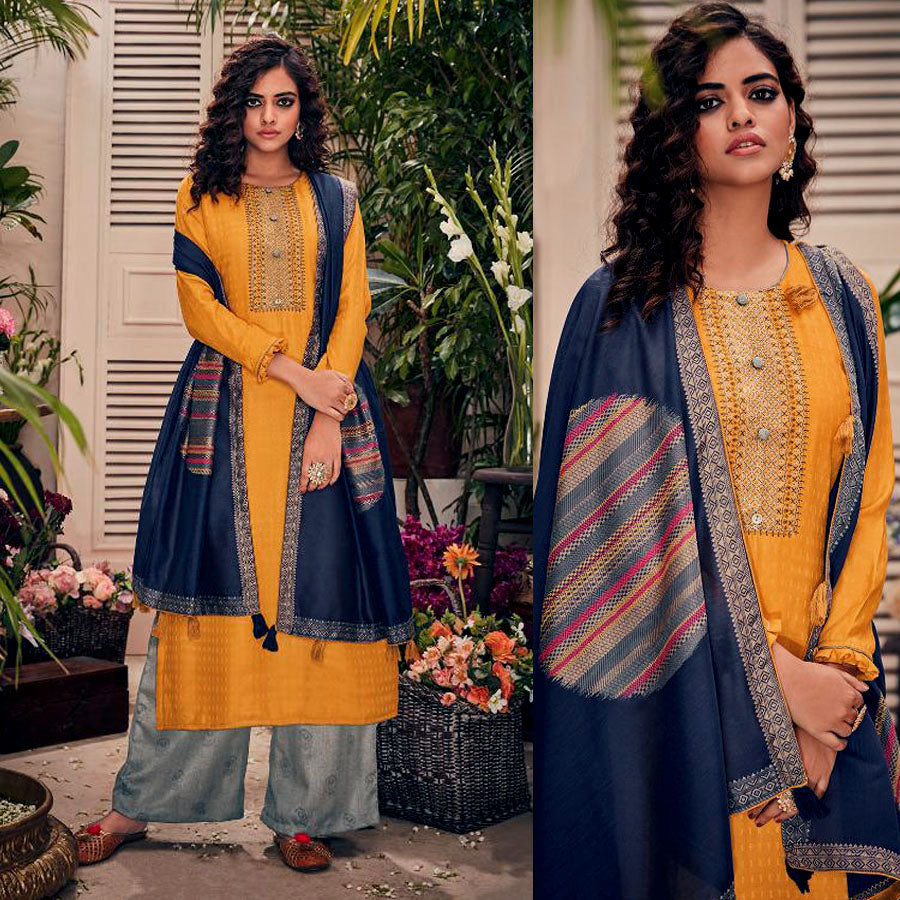 DARK YELLOW-LT GRAY PASHMINA WOOL UNSTITCHED SALWAR KAMEEZ SUIT w EMBR & DRK NAVY BLUE PRINTED SHAWL DRESS MATERIAL LADIES DEN